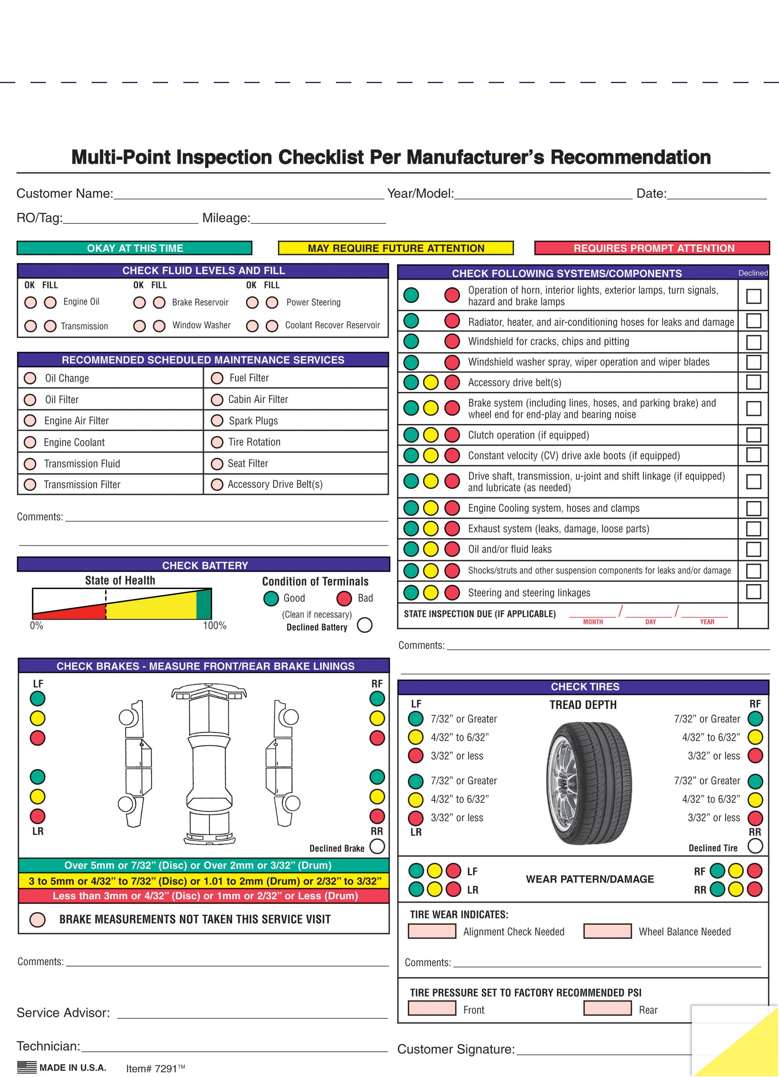 vehicle inspection form #7291 | AutoDealerSupplies.com is ...